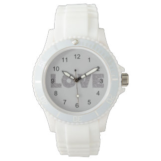 Silver Glitter Love Watch