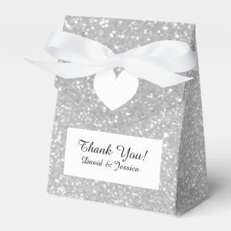 Silver glitter luxury style wedding favor box