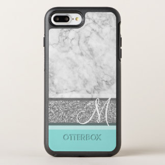 Silver Glitter & Marble Monogram Can CHANGE color OtterBox Symmetry iPhone 8 Plus/7 Plus Case