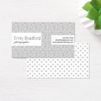 Silver Glitter Modern Polkadot Business Cards