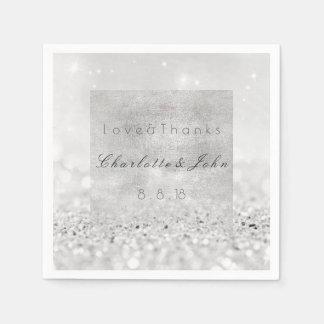 Silver Glitter Monochromatic White Black Wedding Napkin