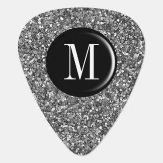 Silver Glitter Monogram Guitar Pick