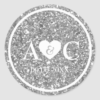 Silver glitter monogram wedding favor classic round sticker