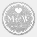 Silver glitter monogram wedding favour stickers
