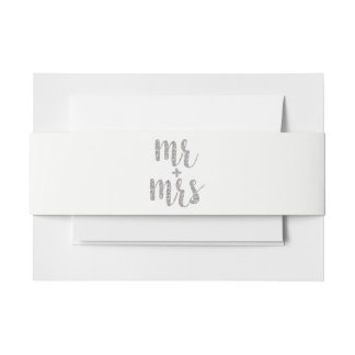 Silver glitter Mr. & Mrs. invitation bands, horiz. Invitation Belly Band