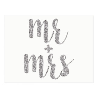Silver glitter Mr. & Mrs. postcards