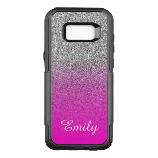 Silver Glitter Neon Pink Ombre Personalized OtterBox Commuter Samsung Galaxy S8+ Case