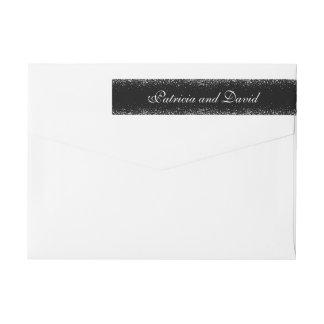Silver Glitter on Black Wrap Around Address Labels