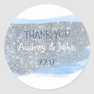 Silver Glitter Pastel Blue Painting Thank You Round Sticker