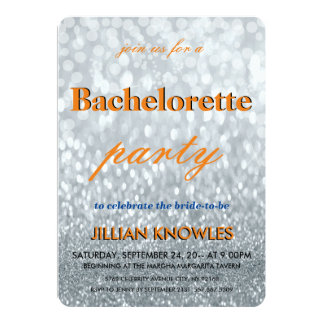 "Silver Glitter Patio String Lights Bachelorette 5"" X 7"" Invitation Card"