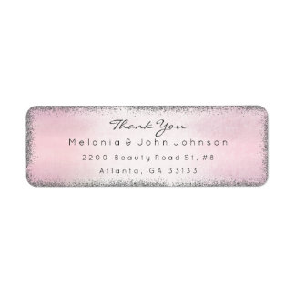 Silver Glitter Pink Thank You RSVP Delicate
