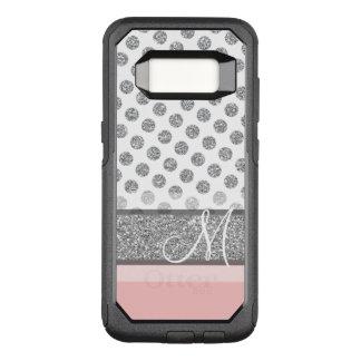Silver Glitter Polka Dot Monogram Can CHANGE OtterBox Commuter Samsung Galaxy S8 Case