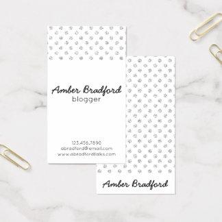 Silver Glitter Polkadots Business Cards
