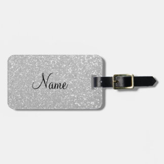 Silver glitter print luxury travel luggage tag