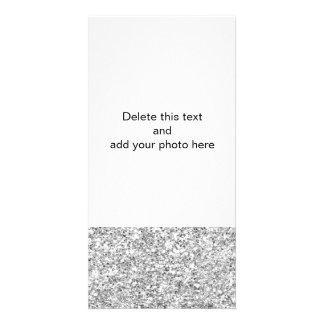 Silver Glitter Printed Picture Card