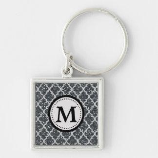 Silver Glitter Quatrefoil Pattern Monogram Keychain