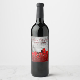 Silver Glitter & Red Christmas Sparkles Bow Wine Label