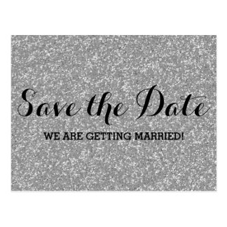 Silver Glitter Save the Date Postcard