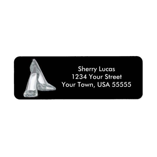 Silver Glitter Shoes Birthday Return Address Label