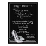 """Silver Glitter Shoes Retirement Party 5"""" X 7"""" Invitation Card"""