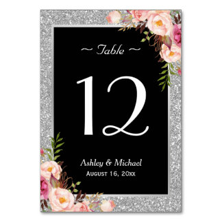 Silver Glitter Sparkle Floral Wedding Table Number
