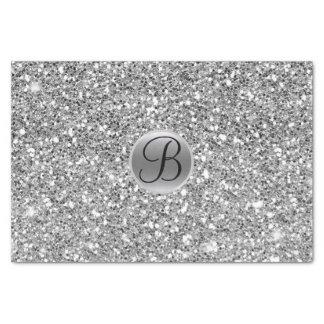 Silver Glitter Sparkle Glam Monogram Initial Tissue Paper