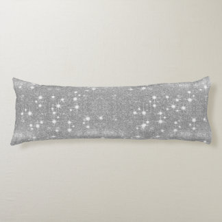 Silver Glitter Sparkle Metal Metallic Look Body Pillow
