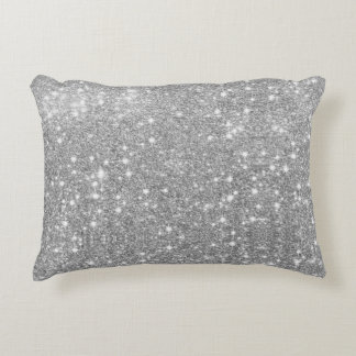 Silver Glitter Sparkle Metal Metallic Look Decorative Pillow