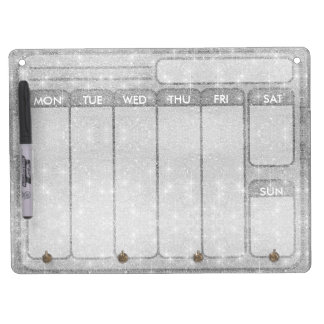 Silver Glitter Sparkle Metal Metallic Look Dry Erase Board With Keychain Holder