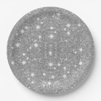 Silver Glitter Sparkle Metal Metallic Look Paper Plate