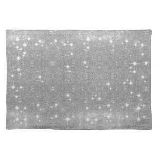 Silver Glitter Sparkle Metal Metallic Look Placemat