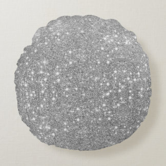 Silver Glitter Sparkle Metal Metallic Look Round Pillow