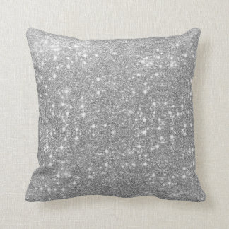 Silver Glitter Sparkle Metal Metallic Look Throw Pillow
