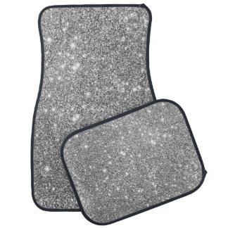 Silver Glitter Sparkles Car Mat