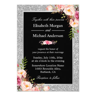 Silver Glitter Sparkles Floral Wedding Invitation