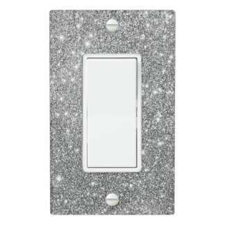 Silver Glitter Sparkles Light Switch Cover