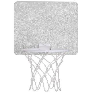 Silver Glitter Sparkley Mini Basketball Hoop