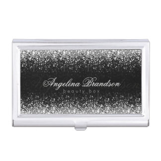 Silver Glitter Star Rain Beauty Expert Card Holder Business Card Holders