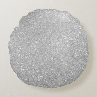 Silver Glitter Style Image Round Pillow