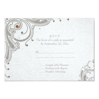 Silver glitter swirls + orange jewels wedding RSVP Card