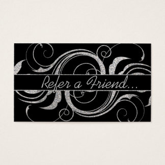 Silver glitter swirls refer a friend business card