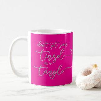 Silver Glitter Tangled Tinsel Coffee Mug