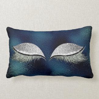 Silver Glitter Teal Makeup Lashes Tropical Glass Lumbar Pillow