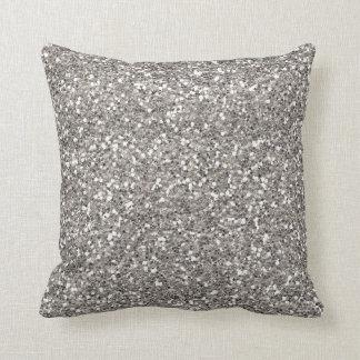 Silver Glitter Throw Pillow
