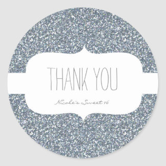 Silver Glitter White Birthday Party Favor Sticker