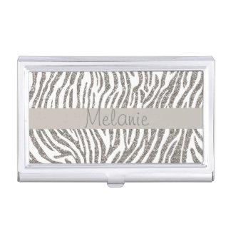 Silver Glitter Zebra Stripe Monogram Business Card Holder