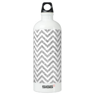 Silver Glitter Zigzag Stripes Chevron Pattern