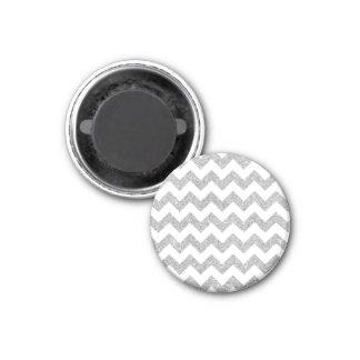 Silver Glitter Zigzag Stripes Chevron Pattern 1 Inch Round Magnet