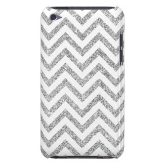 Silver Glitter Zigzag Stripes Chevron Pattern Barely There iPod Covers
