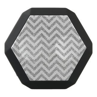Silver Glitter Zigzag Stripes Chevron Pattern Black Bluetooth Speaker